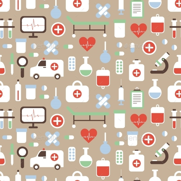 Seamless Pattern of Medical and Health Vector - Health/Medicine Conceptual