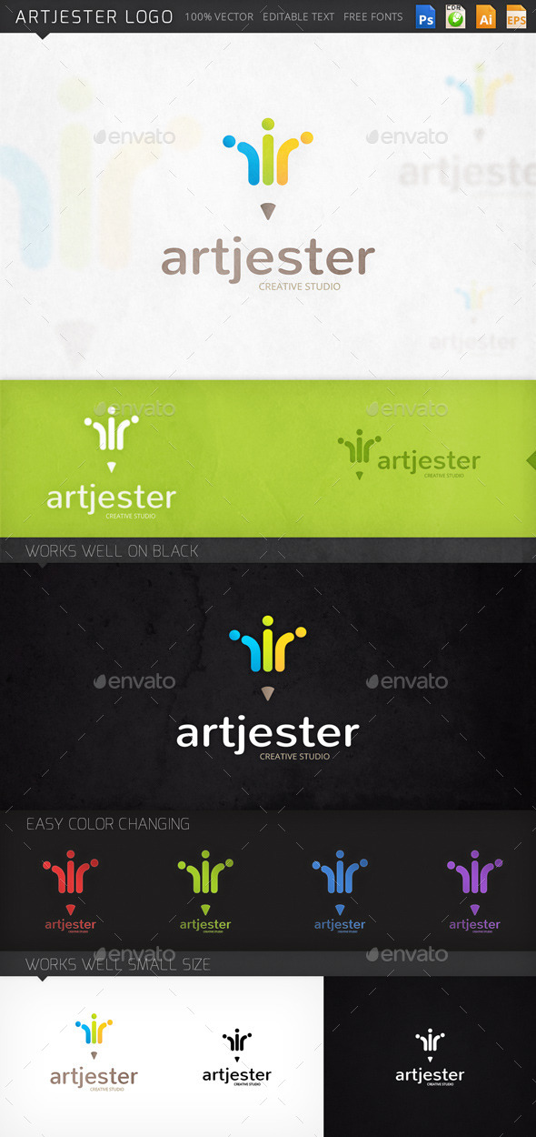 Artjester Pencil Jester Hat Logo Template - Objects Logo Templates