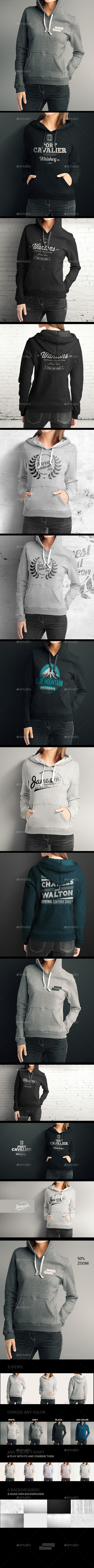 Women Hoodie Mock up - T-shirts Apparel