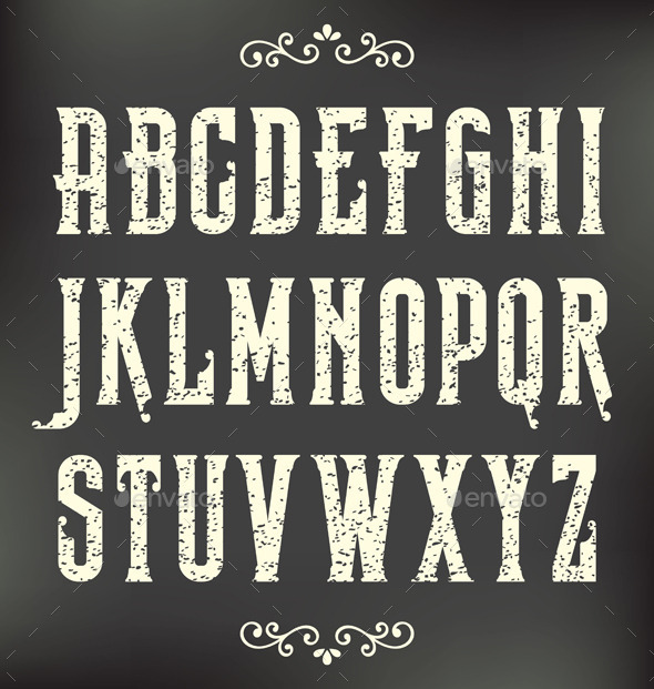 Vintage Grunge Font - Decorative Symbols Decorative