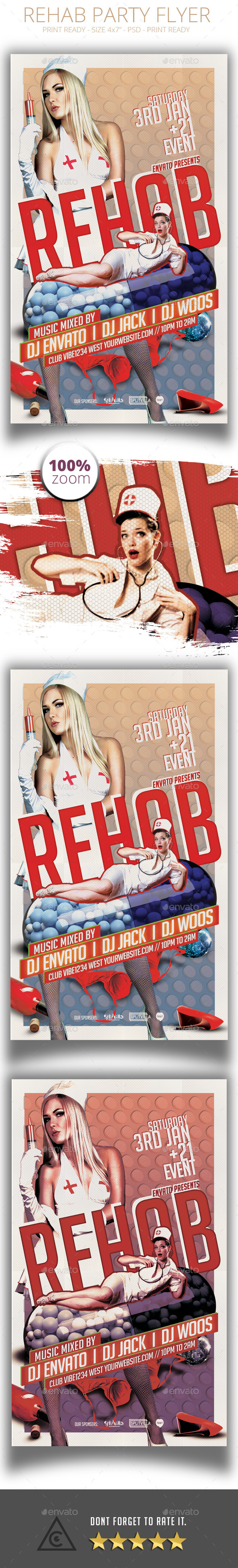 Retro Style Rehab Party Flyer - Clubs & Parties Events