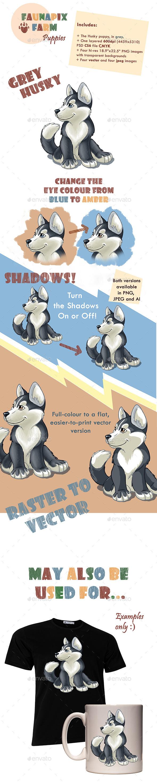 Grey Husky Pup Illustration - Animals Illustrations