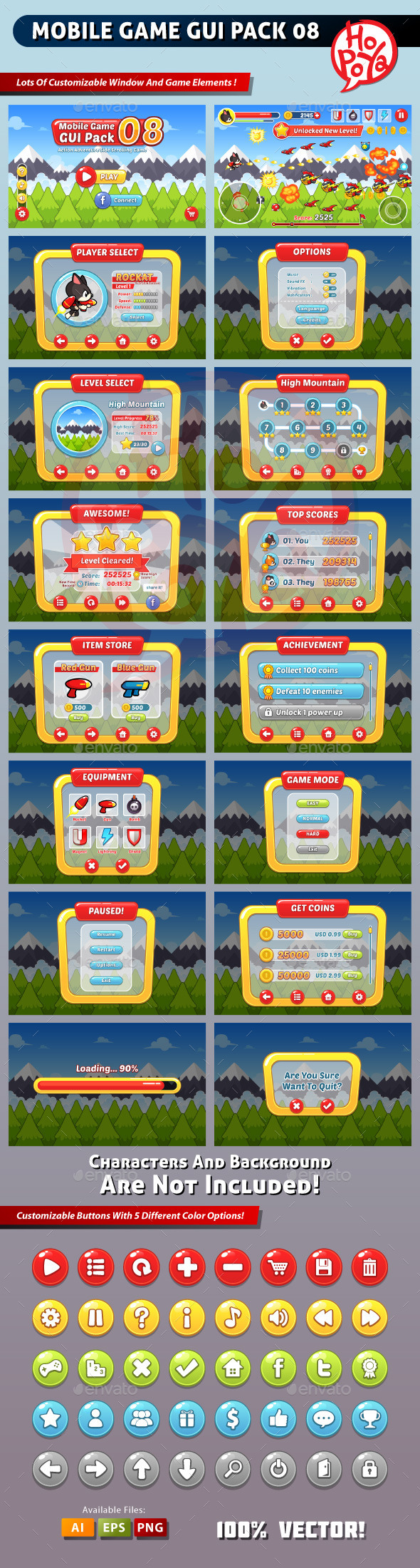 Mobile Game GUI Pack 08 - User Interfaces Game Assets