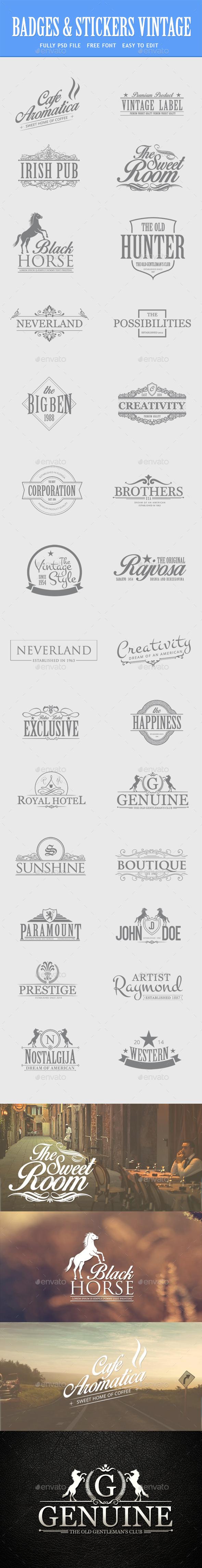 Bundle - Vintage Retro Logo Badges - Badges & Stickers Web Elements