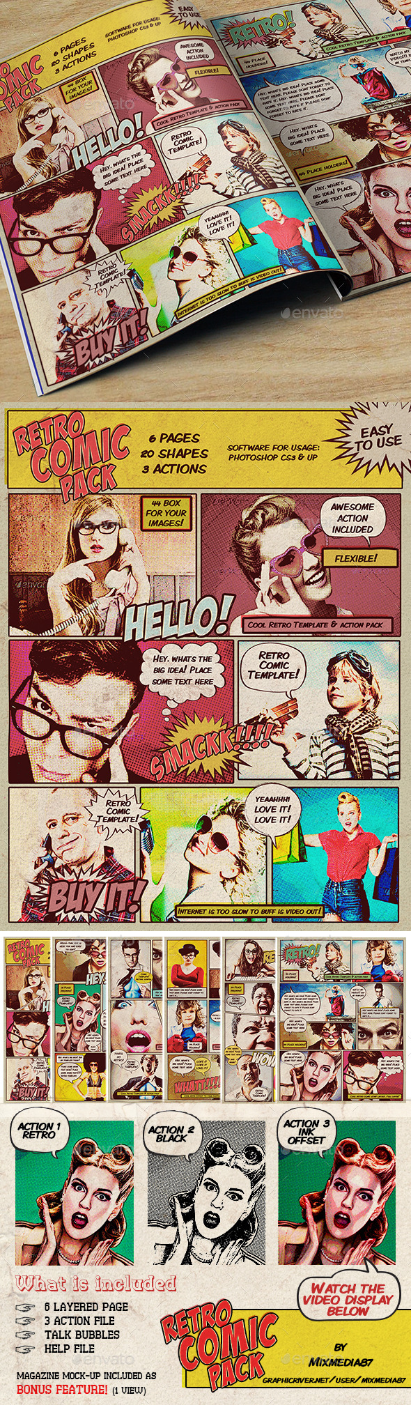 Retro Comic Pack - Photo Templates Graphics