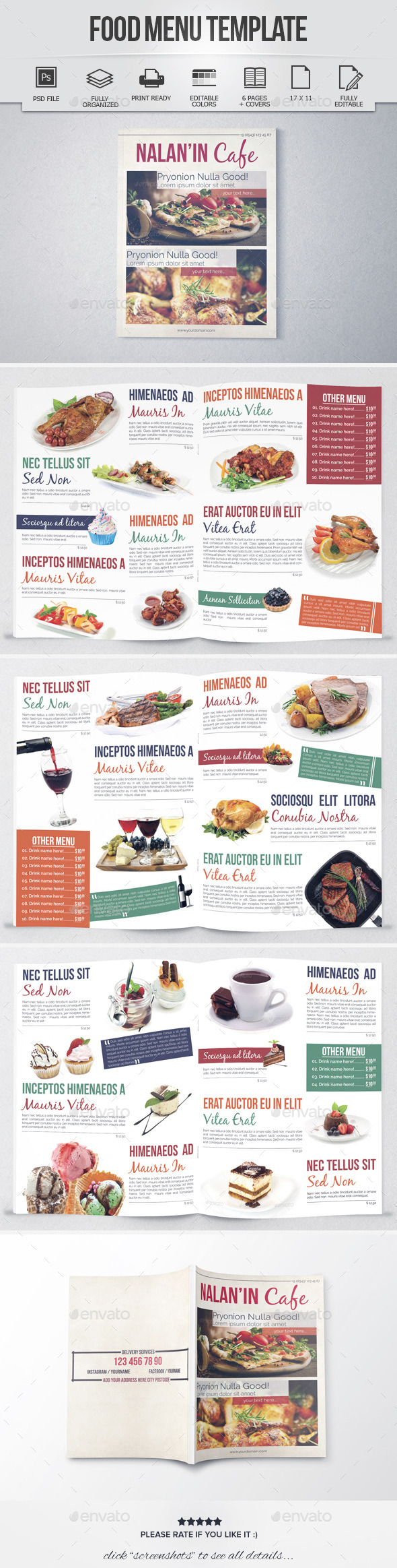 Food Menu Template (8 Pages) - Food Menus Print Templates