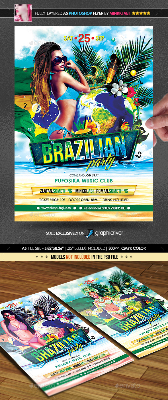 Brazilian Party Poster/Flyer - Flyers Print Templates