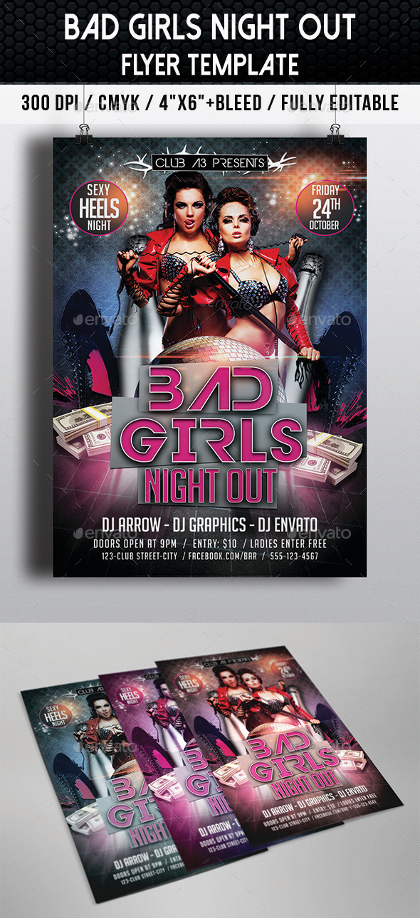Bad Girls Night Out Flyer - Clubs & Parties Events