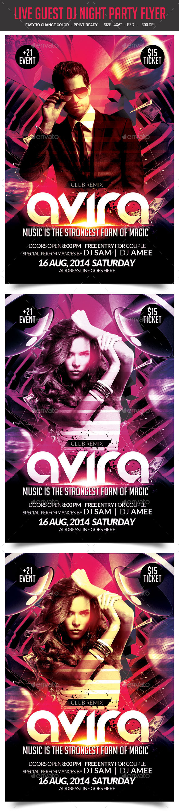 Live Guest DJ Flyer Template - Clubs & Parties Events