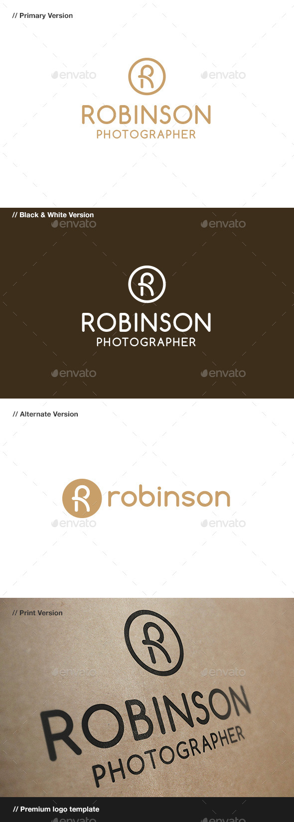 Robinson - R Letter Logo - Letters Logo Templates
