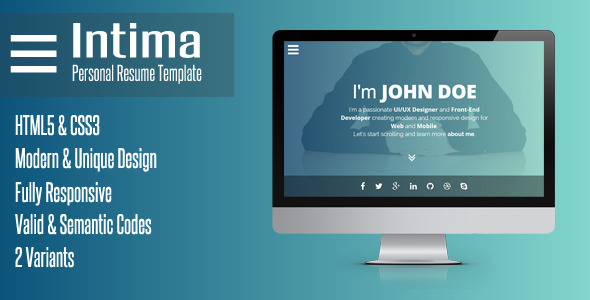 intima clean responsive resume template by bdinfosys