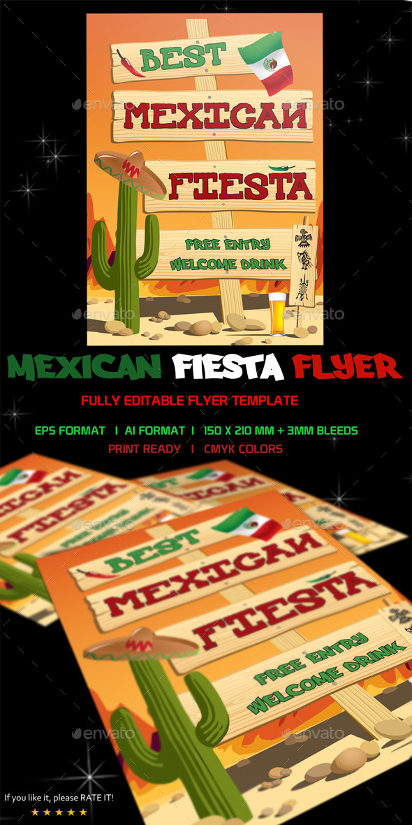 Mexican Fiesta Flyer Template - Flyers Print Templates