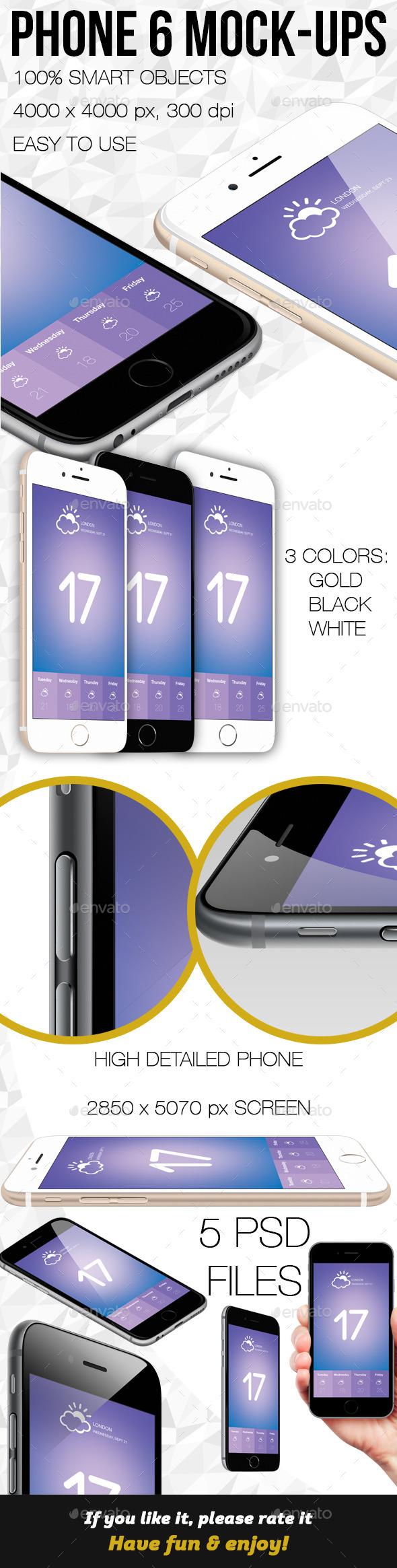 Phone 6 Mock-ups - Product Mock-Ups Graphics