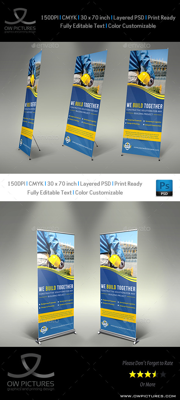 Construction Business Signage Rollup Template Vol2 - Signage Print Templates