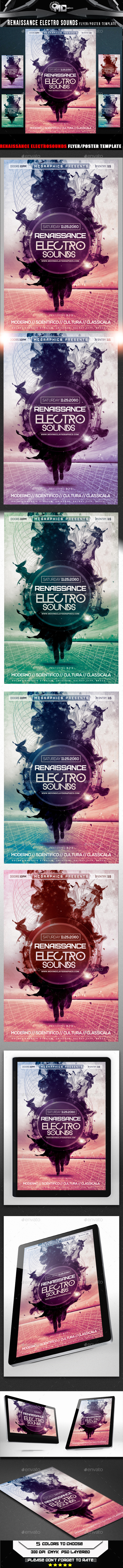 Renaissance Electro Sounds Flyer Template - Flyers Print Templates