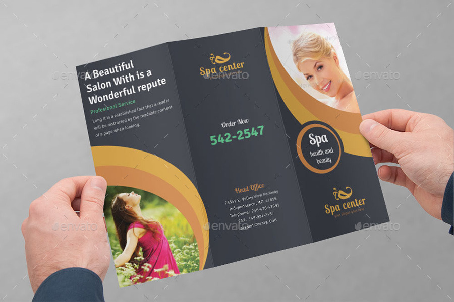 Spa Brochure Image Jpg Spa Beauty Saloon Trifold Brochure Bundle V