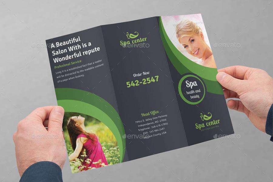 Spa Amp Beauty Saloon Tri Fold Brochure Bundle V4 By