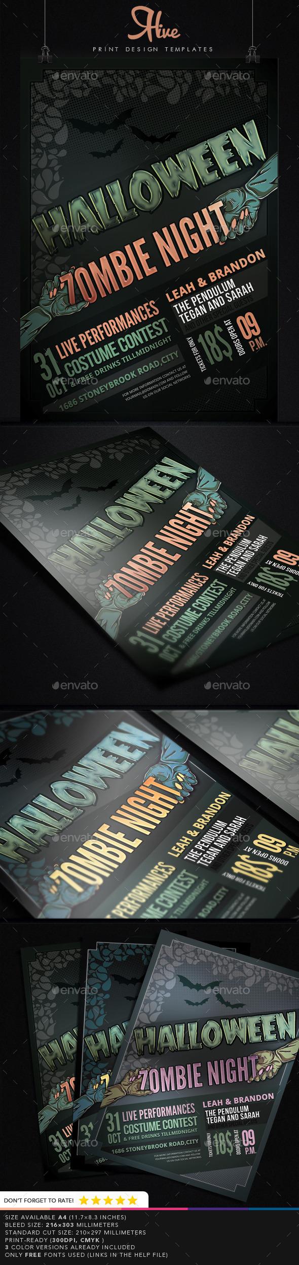 Halloween Zombie Night Flyer - Flyers Print Templates