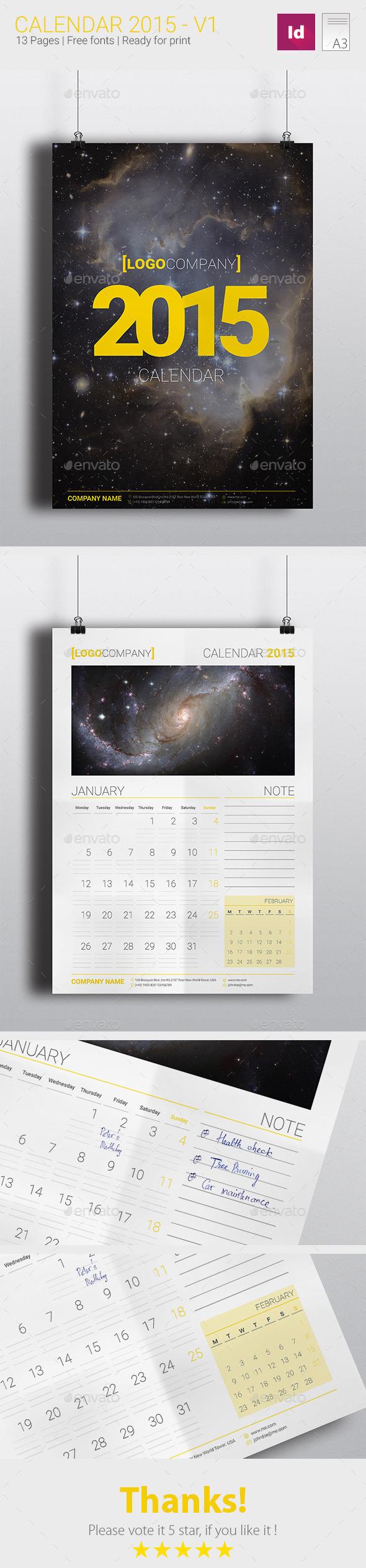 Calendar 2015-V1 - Calendars Stationery
