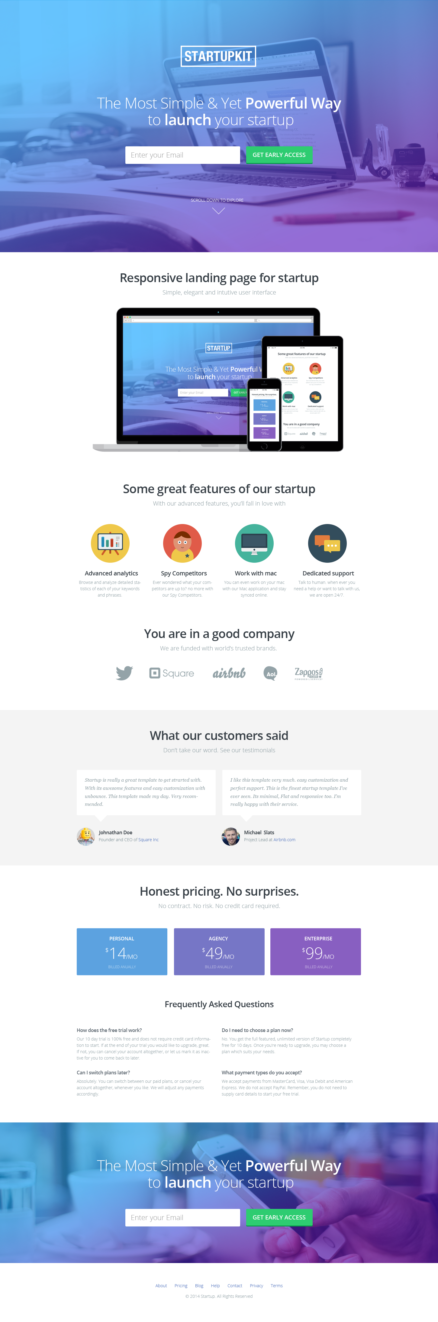 Startupkit Responsive Parallax Landing Template By Surjithctly