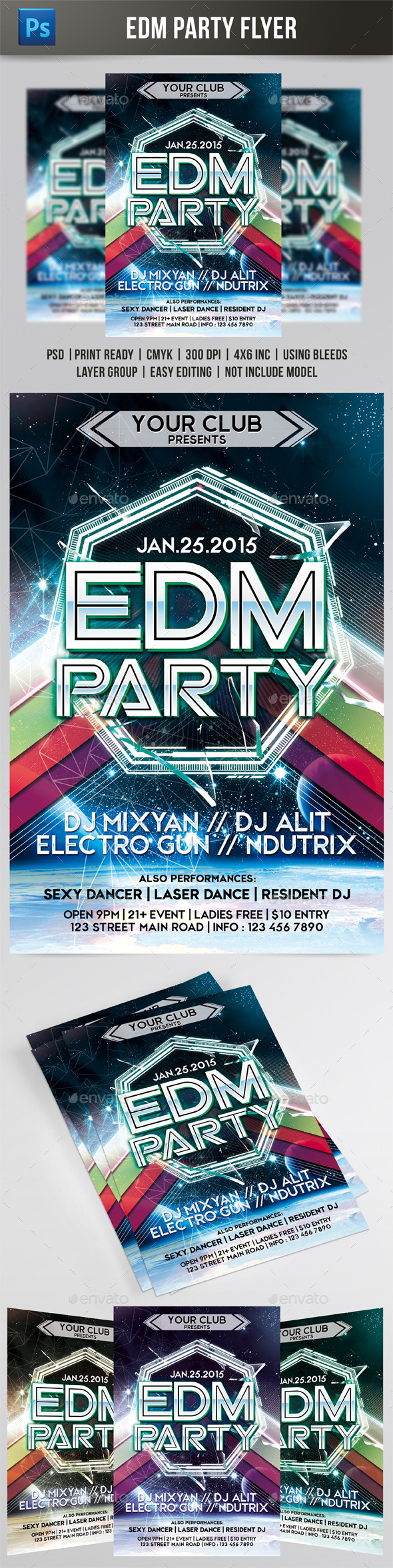 EDM Party Flyer - Events Flyers
