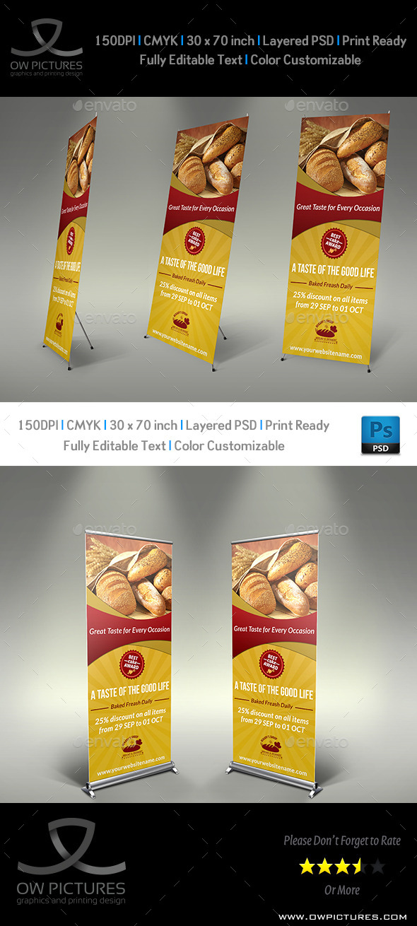 Bakery Signage Roll Up Banner Template - Signage Print Templates