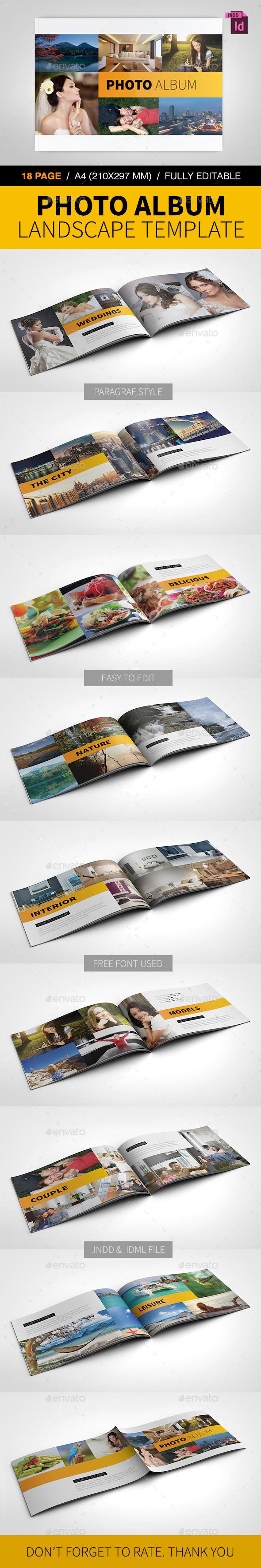 Photo Album Landscape Template - Photo Albums Print Templates