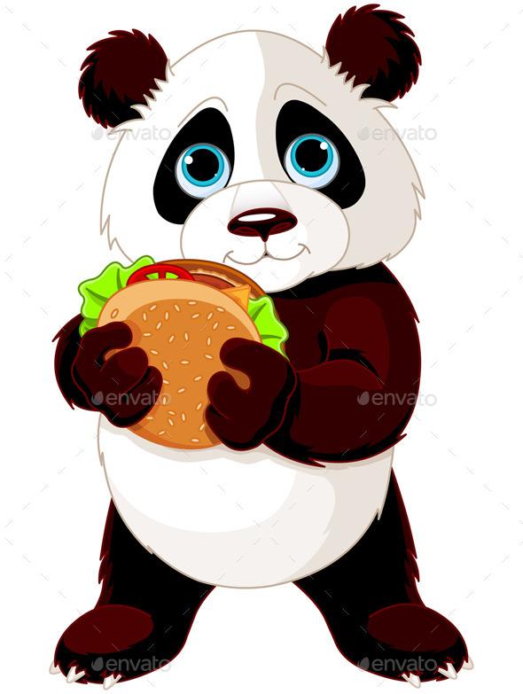 Panda Eats a Hamburger - Animals Characters