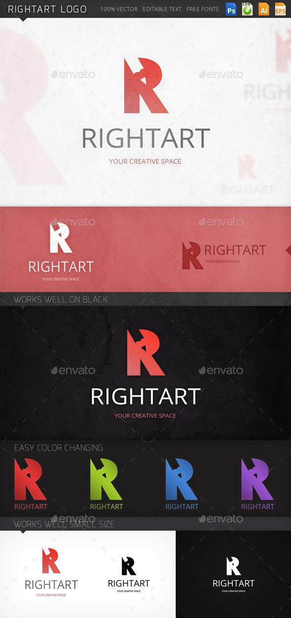 Rightart Letter R Logo Template - Letters Logo Templates