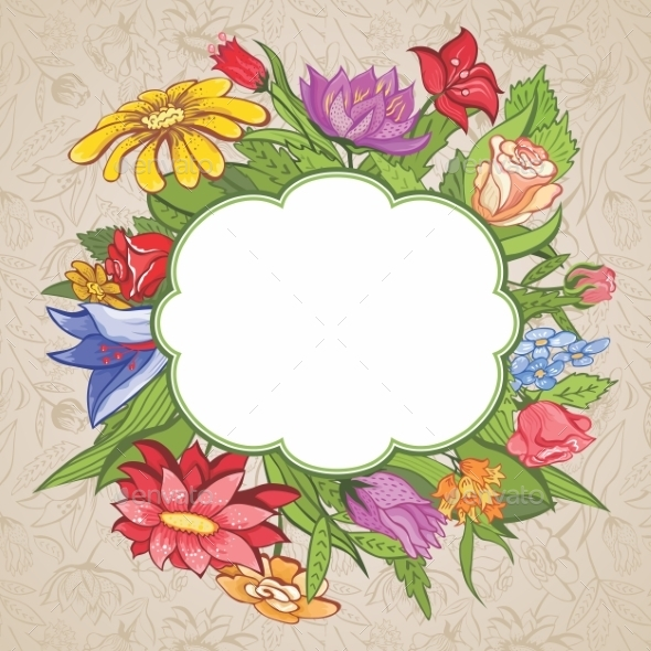 Vector Bright Flower Frame - Flowers & Plants Nature