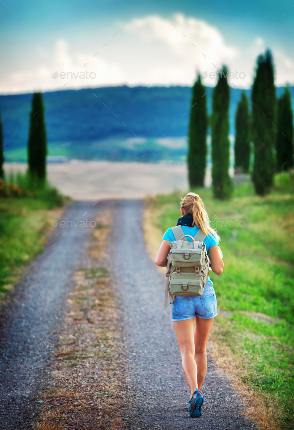 Young backpacker traveling along Europe - Stock Photo - Images