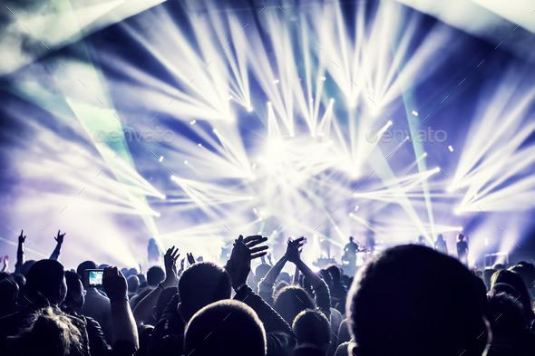 Crowd enjoying concert - Stock Photo - Images