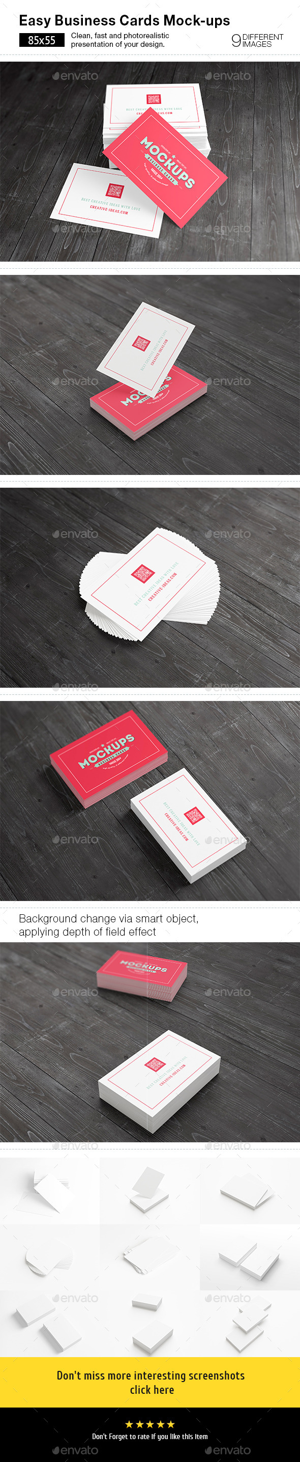 [85x55] Business Cards Mock-ups - Business Cards Print