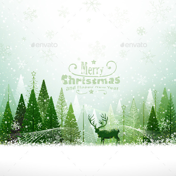 Christmas Background with Reindeer - Christmas Seasons/Holidays
