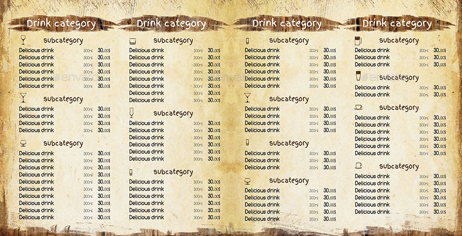 Modern Retro Bar Menu Template By Kreatorr | Graphicriver
