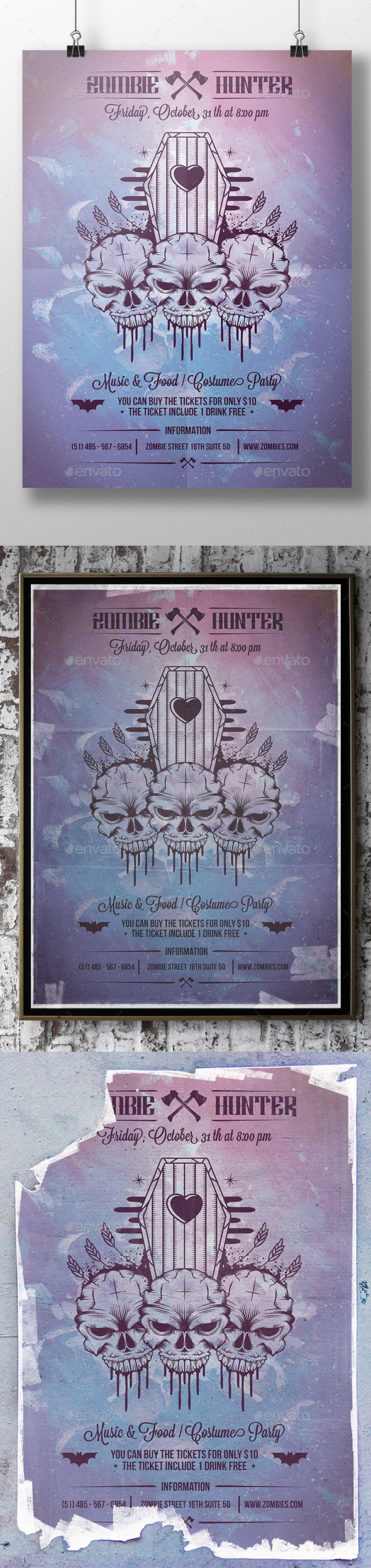 Halloween Skull Poster Flyer - Concerts Events
