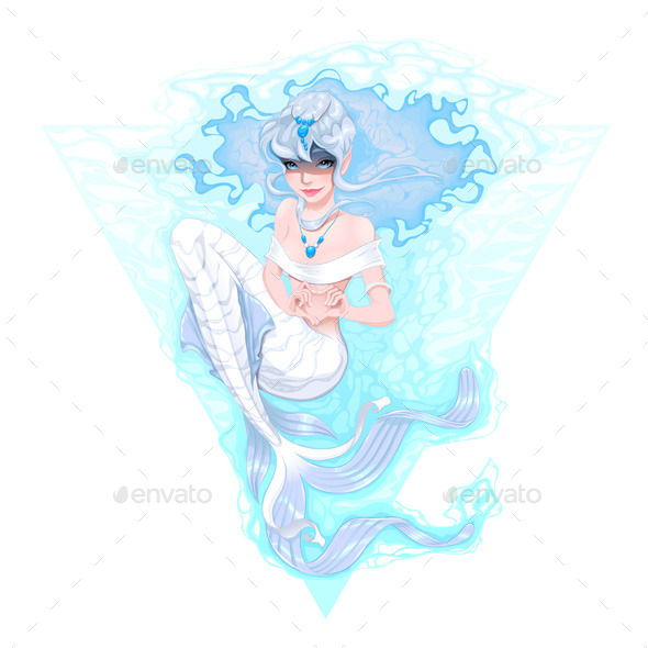 Mermaid marking the Heart with her Hands.  - Characters Vectors