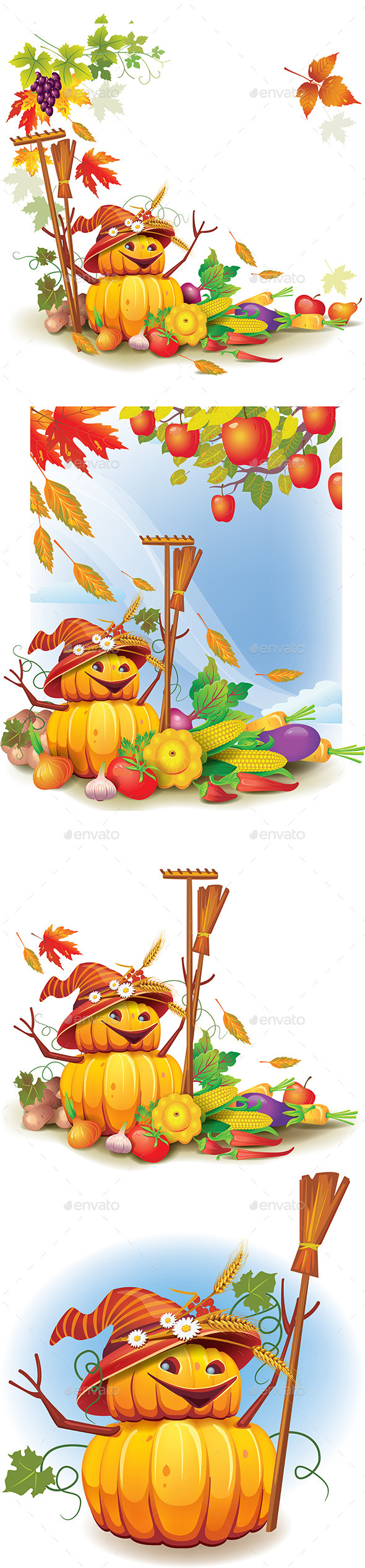 Template on a Theme on the Autumn Harvest - Seasons Nature