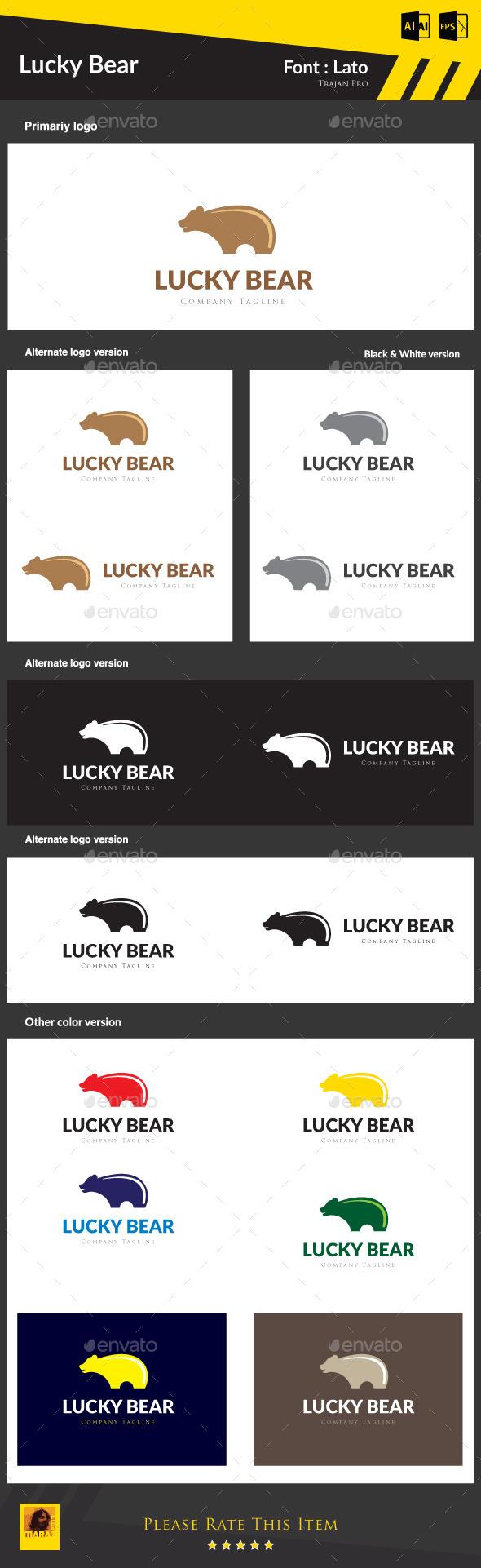 Lucky Bear - Animals Logo Templates