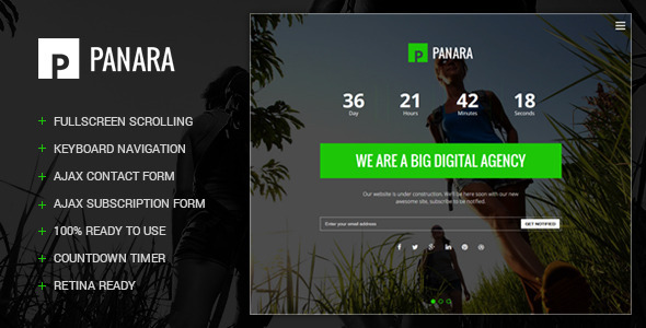 Panara - Responsive Coming Soon Template - Under Construction Specialty Pages
