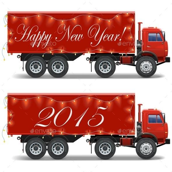 Vector Christmas Truck - Christmas Seasons/Holidays