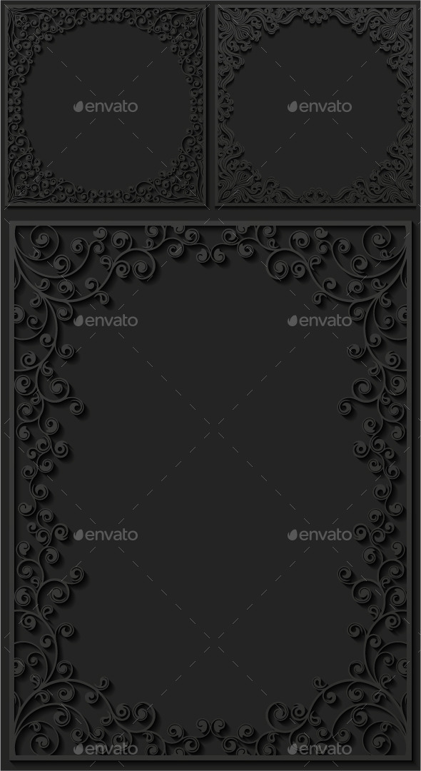 Set of Paper Floral Frames - Borders Decorative