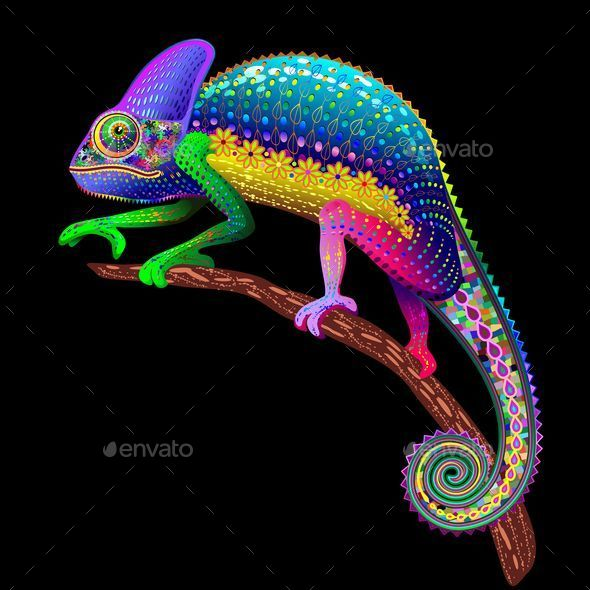 Chameleon Fantasy Rainbow Colors - Animals Characters