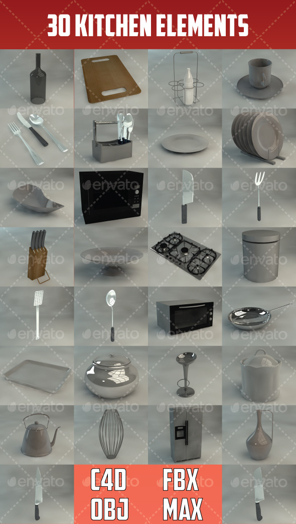30 Kitchen Elements - 3DOcean Item for Sale