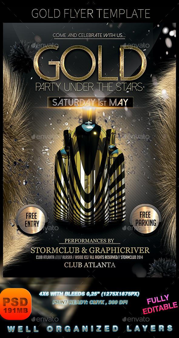 Gold Flyer Template - Events Flyers
