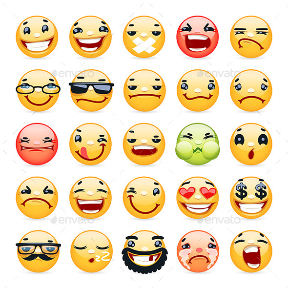 Cartoon Facial Expression Smile Icons Set - Miscellaneous Characters