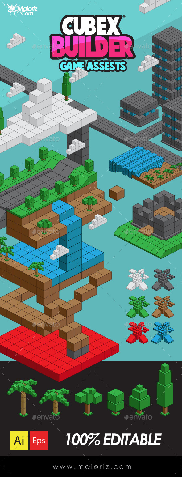 Cubex Builder Tilesets - Tilesets Game Assets