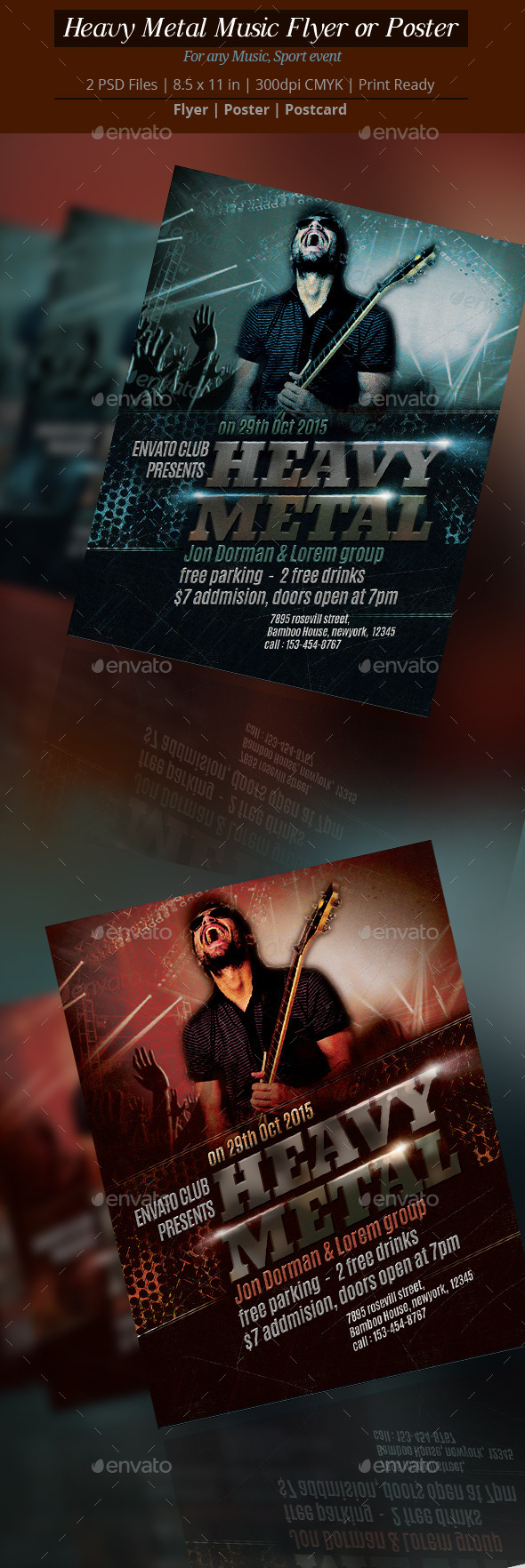 Heavy Metal Music Flyer or Poster - Clubs & Parties Events