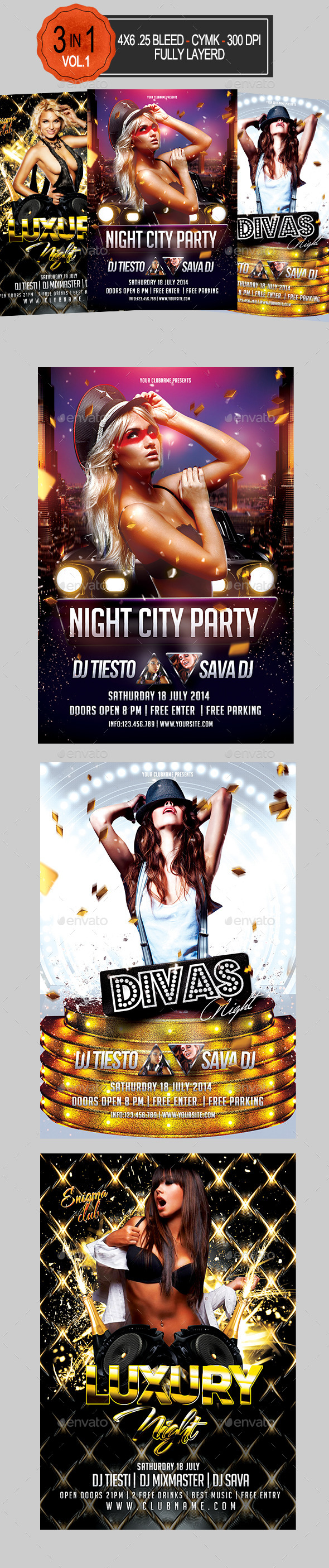 3 in 1 Club Party Flyer Bundle Vol 1   - Clubs & Parties Events