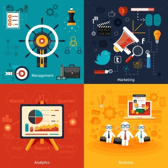 Icons for Marketing, Management and Analytics - Concepts Business